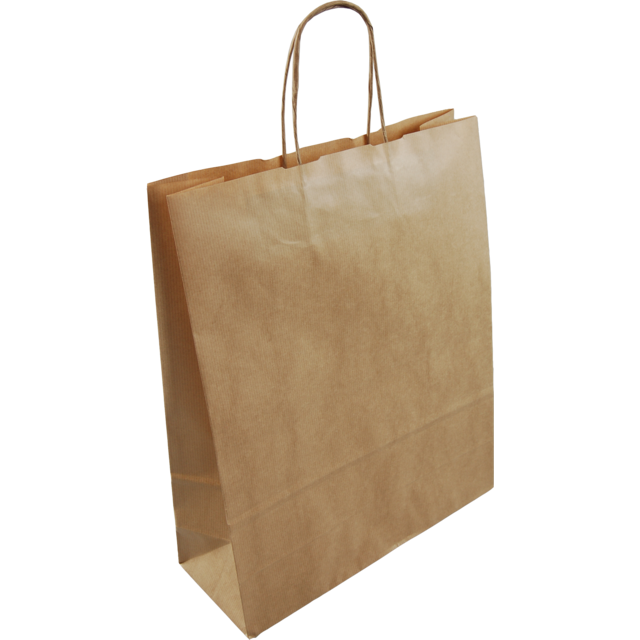 Bag, Gestreept kraftpapier, twisted-paper cord, 32x12x41cm, carrier bag, brown 1