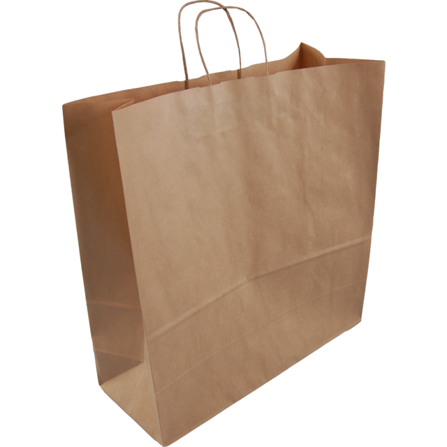 Bag, Gestreept kraftpapier, Twisted-paper cord, 46x17x48cm, carrier bag, brown 1
