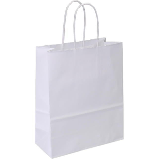 Bag, Gestreept wit kraft, twisted-paper cord, 18x8x22cm, carrier bag, white 1