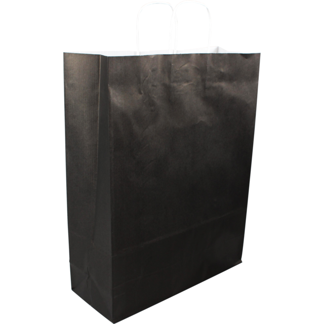 Bag, Gestreept wit kraft, twisted-paper cord, 32x12x41cm, carrier bag, black 1