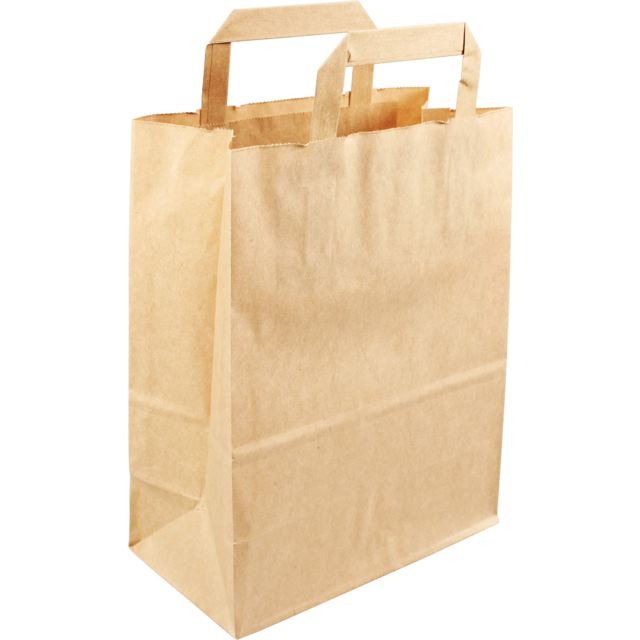 Bag, Pulp, flat paper handles, 22x10x28cm, carrier bag, brown 1