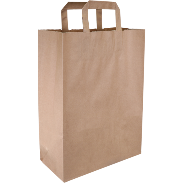 Bag, Pulp, Flat paper handles, 26xSide fold 12x35cm, carrier bag, brown  1