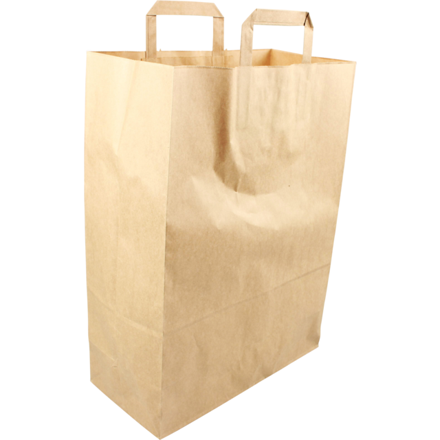 Bag, Pulp, flat paper handles, 32x15x43cm, carrier bag, brown 1