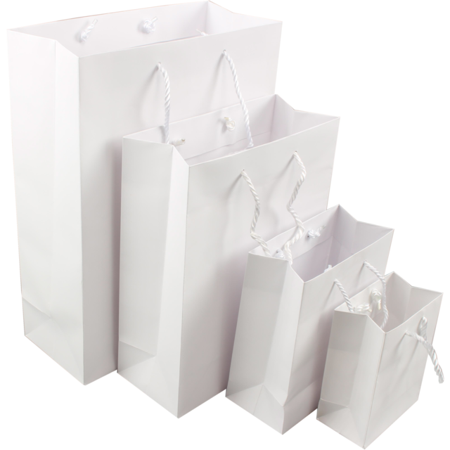 Bag, Art paper, deluxe bag with cord, 11x6.5x14.5cm, carrier bag, white 1