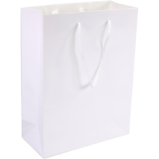 Bag, Art paper, deluxe bag with cord, 16x8x19cm, carrier bag, white 1
