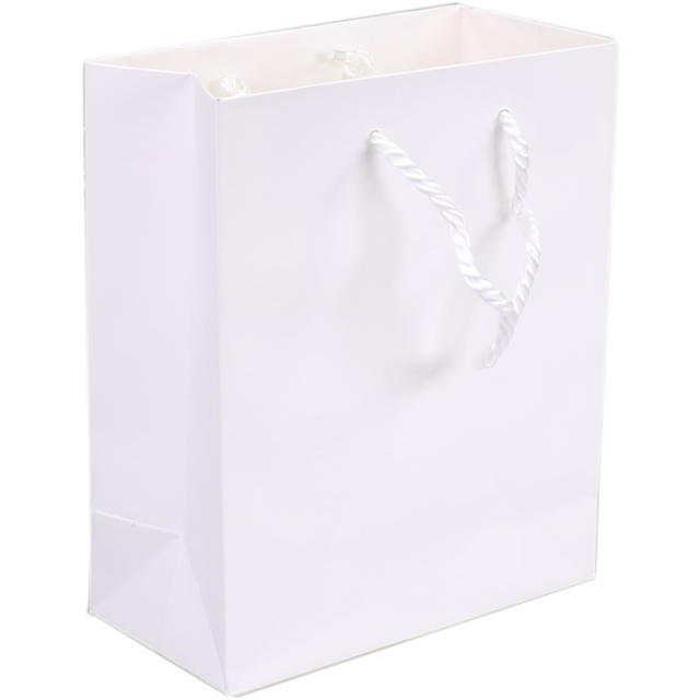 Bag, Art paper, deluxe bag with cord, 22x10x29cm, carrier bag, white 1