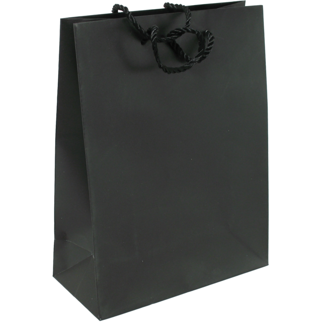 Bag, Art paper, deluxe bag with cord, 22x10x29cm, carrier bag, black 1
