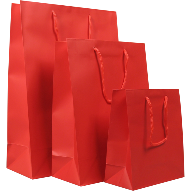 Bag, Art paper, deluxe bag with cord, 27x12x37cm, carrier bag, red 1