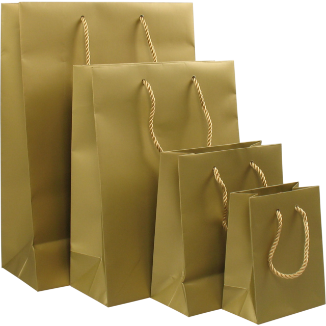 Bag, Art paper, deluxe bag with cord, 11x6,5x14.5cm, carrier bag, gold 1