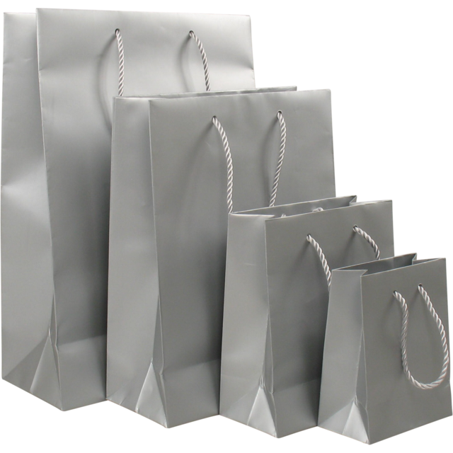 Bag, Art paper, deluxe bag with cord, 11x6,5x14.5cm, carrier bag, silver 1