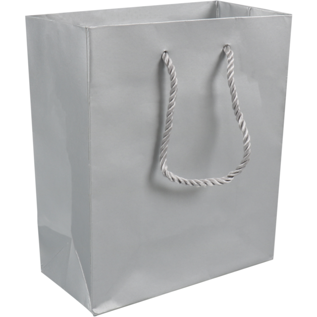 Bag, Art paper, deluxe bag with cord, 16x8x19cm, carrier bag, silver 1