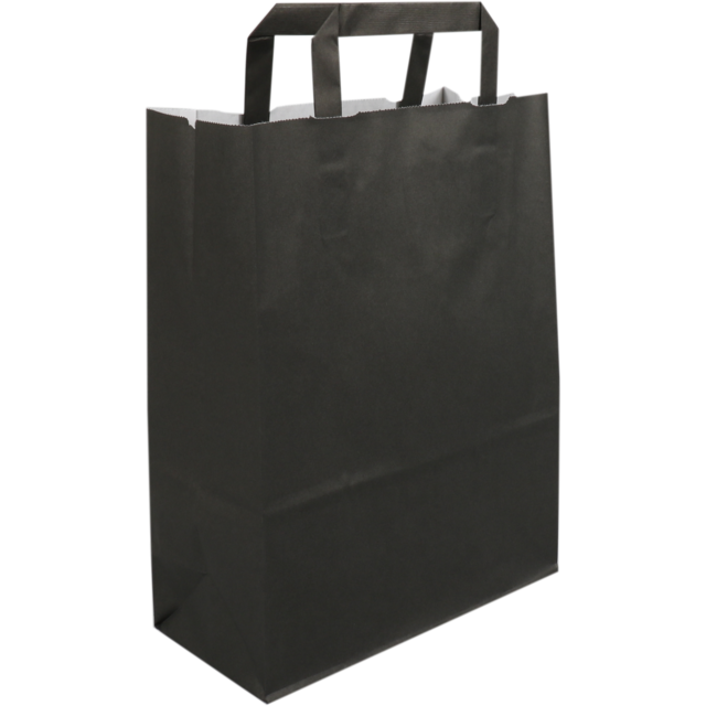 Bag, Wit kraft, flat paper handles, 22x10x28cm, paper carrier bag, black 1