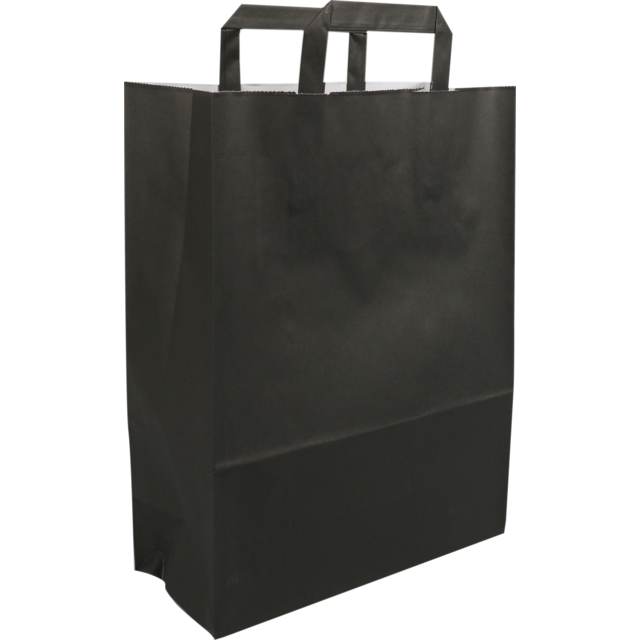Bag, Wit kraft, flat paper handles, 26x12x35cm, paper carrier bag, black 1