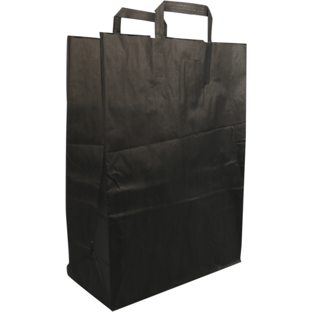 Bag, Wit kraft, Flat paper handles, 32x15x43cm, paper carrier bag, black 1