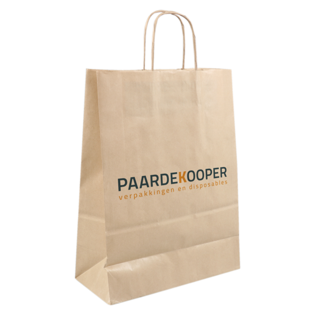 Bag, Your own printing, 1 zijde, Kraft paper, Twisted-paper cord, 26xSide fold 12x35cm, carrier bag, brown  1