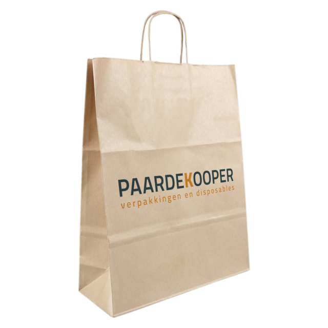 Bag, Your own printing, 1 zijde, Kraft paper, Twisted-paper cord, 32x12x41cm, carrier bag, brown  1