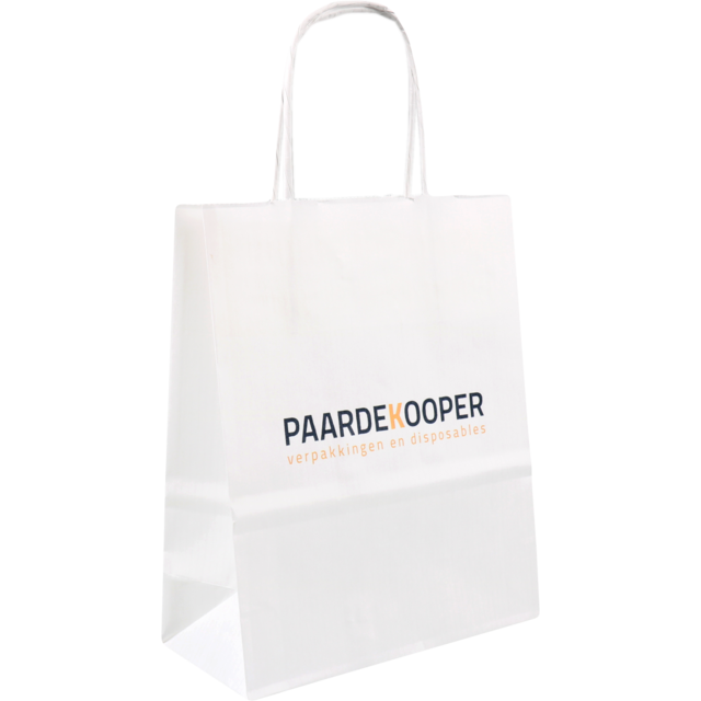 Bag, Your own printing, 1 zijde, Kraft paper, Twisted-paper cord, 18x8x22cm, carrier bag, white 1
