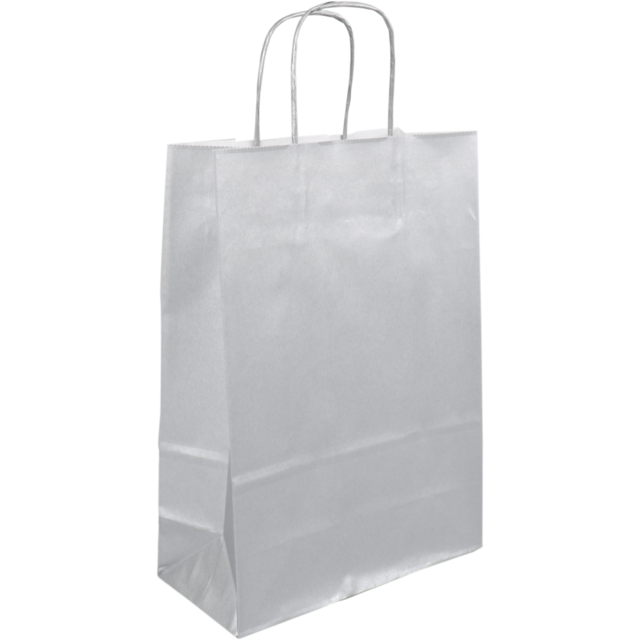 Bag, Wit kraft, Twisted-paper cord, 22x 10x31cm, carrier bag, silver 1