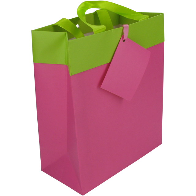 Bag, Art paper, deluxe carrier bag with ribbon, 16x8x19cm, carrier bag, fuchsia/Green 1