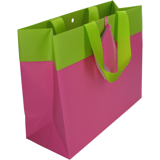 Bag, Art paper, deluxe carrier bag with ribbon, 25x10x20cm, carrier bag, fuchsia/Green 1