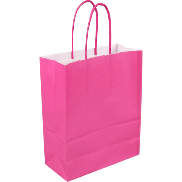 Bag, Paper, Twisted-paper cord, 18x 8x22cm, paper carrier bag, pink 1