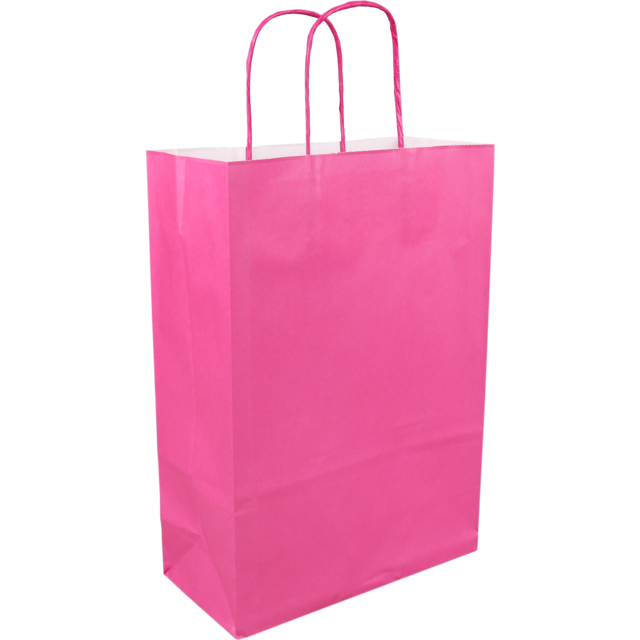 Bag, Paper, Twisted-paper cord, 22x 10x31cm, paper carrier bag, pink 1