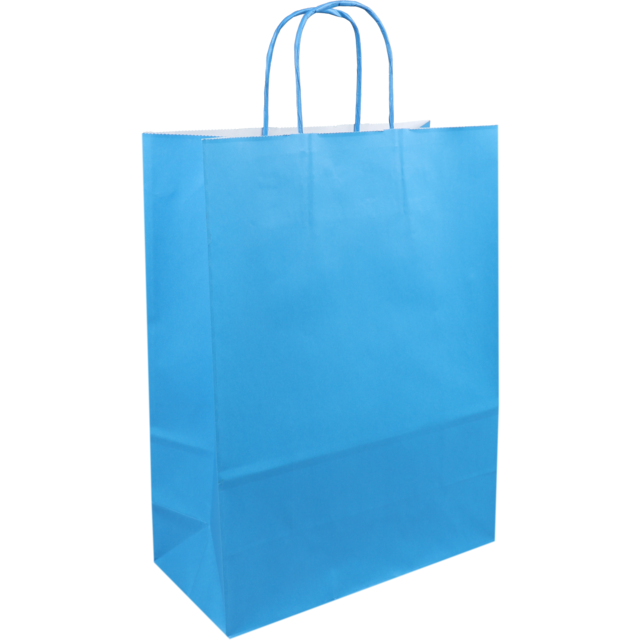 Bag, Paper, Twisted-paper cord, 26xSide fold 12x35cm, paper carrier bag, sky Blue 1