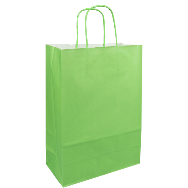 Bag, Paper, Twisted-paper cord, 22xSide fold 10x31cm, paper carrier bag, green 1
