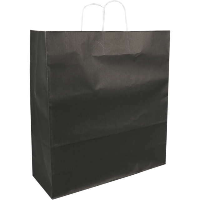 Bag, kraft paper, twisted-paper cord, 46xSide fold 17x48cm, carrier bag, black 1