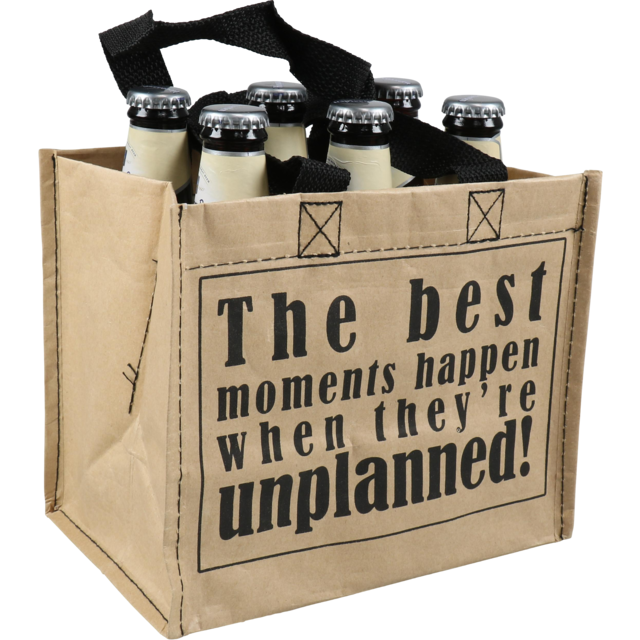 Bag, Best moments, PP, Deluxe carrier bag, 21x14x18cm, beer, brown  1
