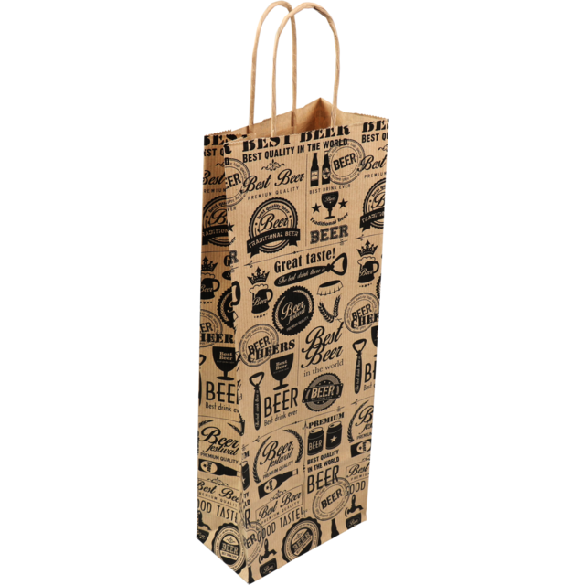 Bag, Brown Kraft paper, twisted-paper cord, 14x8x39cm, bodemvouw 8cm, wine bottle,  1