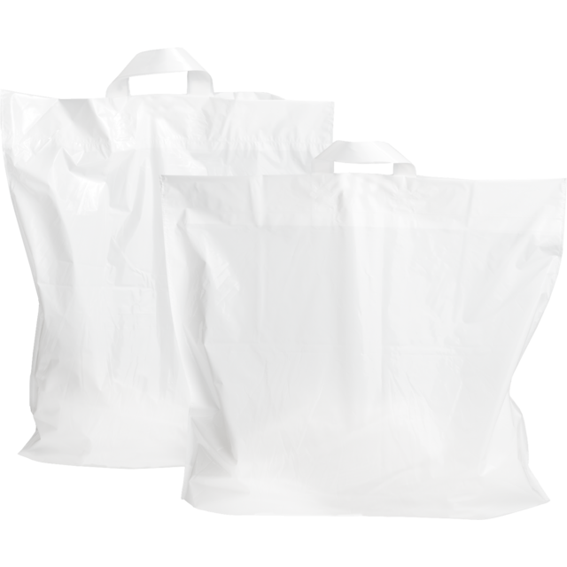 Bag, LDPE, Loop, 46x52cm, bottom pleat 10cm, loop handled carrier bag, white 1