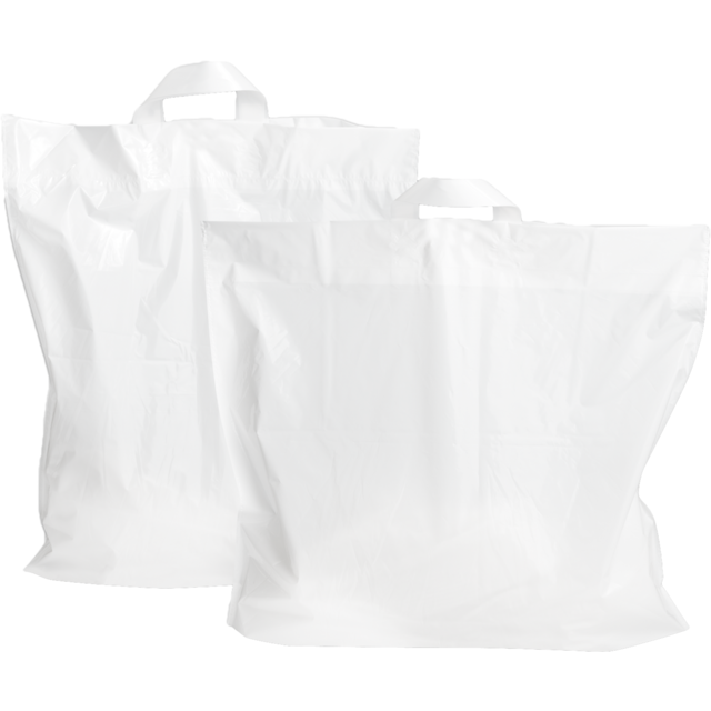 Bag, LDPE, loop, 55x50cm, bodemvouw 5cm, loop handled carrier bag, white 1