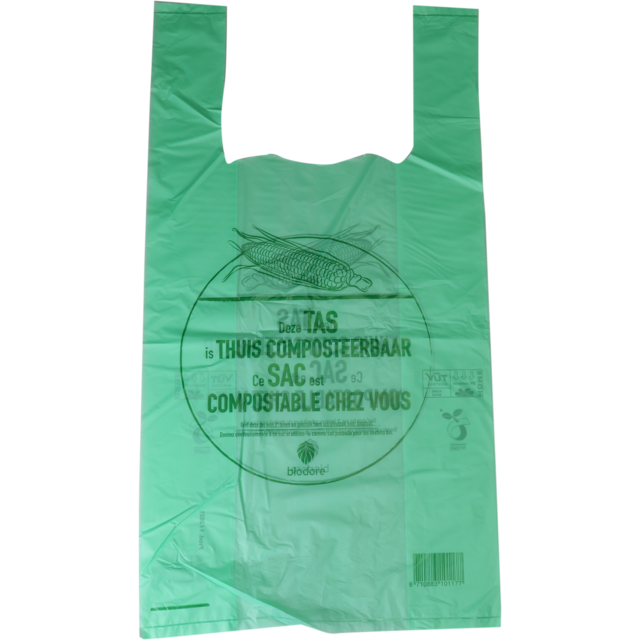 Biodore® Bag, Compostable, Corn, 27x7x50cm, t-shirt bag, transparent/Green 1