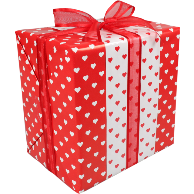 LOVLY® Gift-wrapping paper, 50cm, 200m, 70gr/m², Hearts, white/Red 1