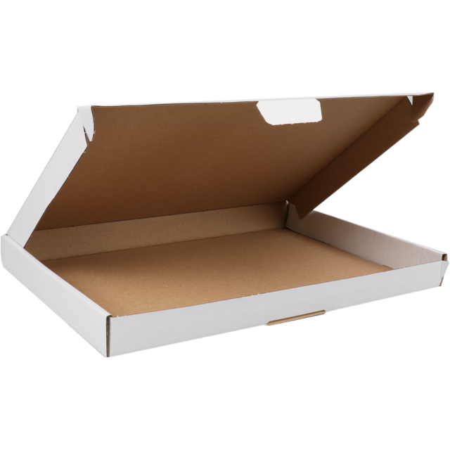 SendProof® Fits through letterbox - box, Cardboard, 310x220x28mm, with flap, single corrugation, white 1
