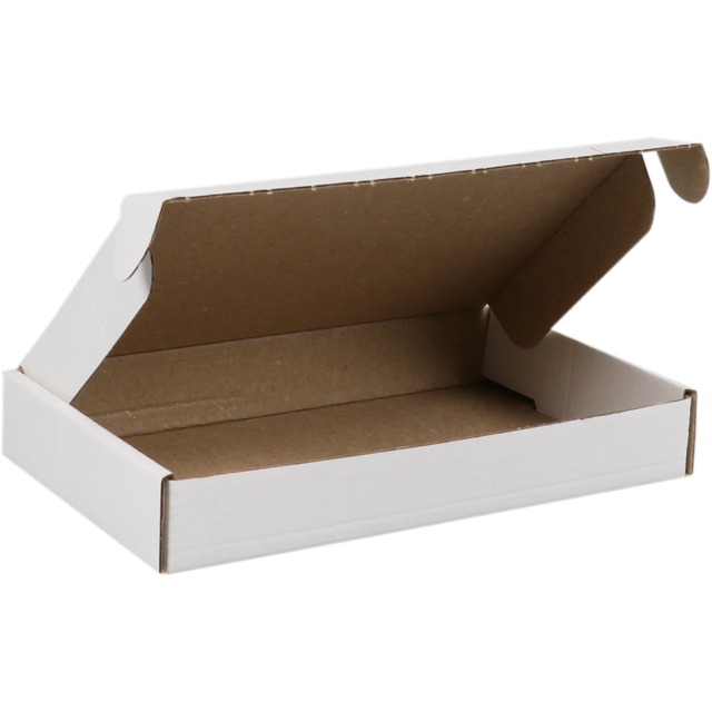 SendProof® Fits through letterbox - box, Cardboard, 180x115x28mm, with flap, single corrugation, white 1