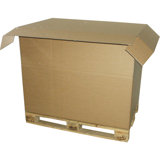 Pallet box, Corrugated cardboard, 1180x780x790mm, 1 side flap, brown 1