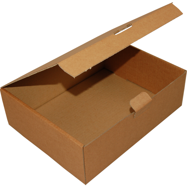 Folding box, Corrugated cardboard, 200x140x75mm, with closure flap, brown 1