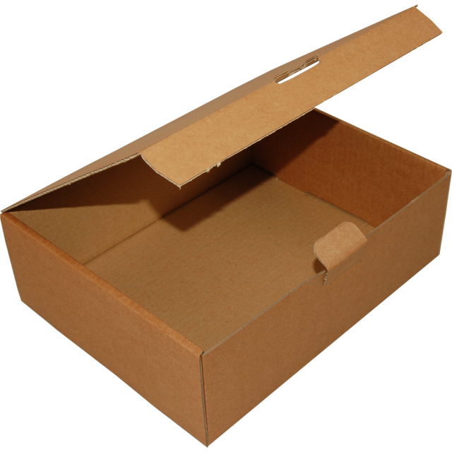 Folding box, Corrugated cardboard, 250x150x100mm, with closure flap, brown 1