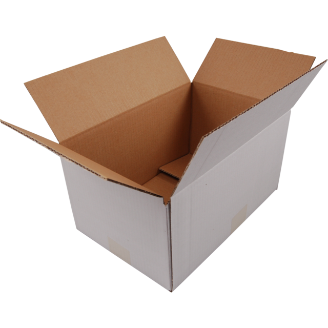 American folding box, Corrugated cardboard, 302x215x150mm, single corrugation, white 1