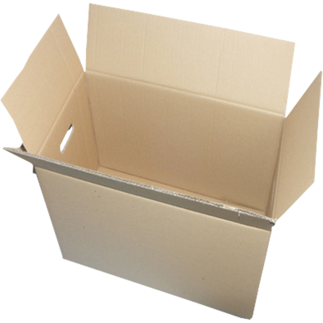 American folding box, Corrugated cardboard, 625x310x325mm, double bottom and handles, brown 1