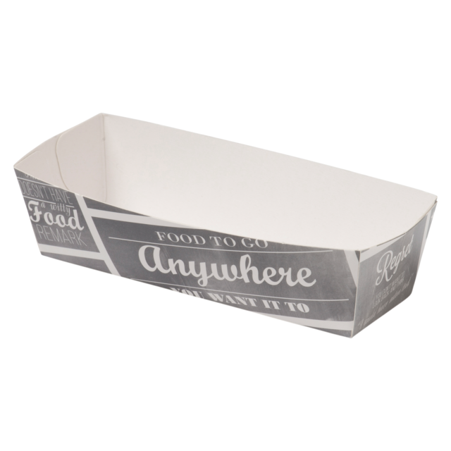 Container, Karton/Coating, sausage container, 105x33x30mm, white/Grey 1