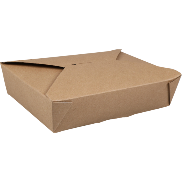Fold-Pak Container, Cardboard, 1470ml, asian meal container, 216x159x48mm, brown  1