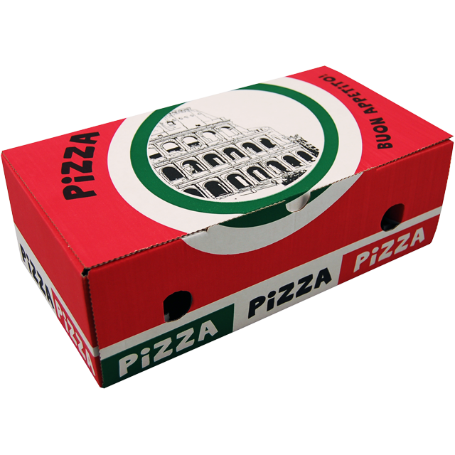 Pizza box, Corrugated cardboard, 27x17x7cm, Calzone, white 1