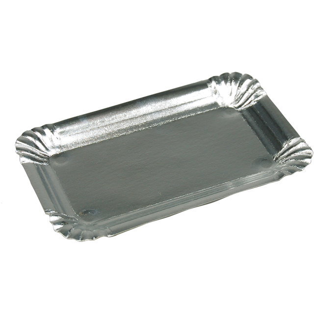 Catering serving tray , gevoerd, Cardboard and aluminum, rectangular, 16x10cm, aluminum 1