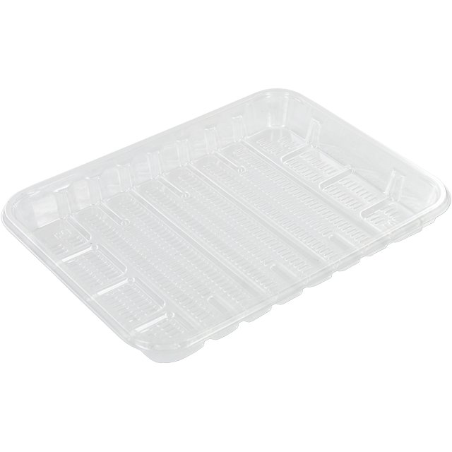Catering serving tray , meat tray, PS, 70 ll PS, rectangular, 172x130mm, transparent 1