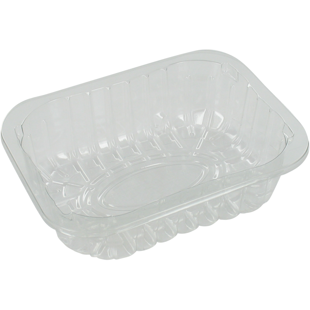 Catering serving tray , meat tray, PET, 5-45 r-PET, rectangular, 124x161mm, transparent 1