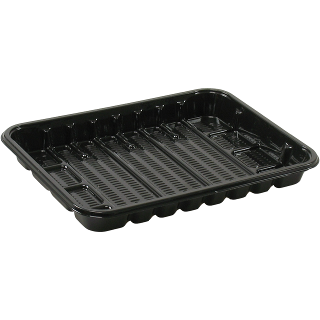 Catering serving tray , meat tray, PET, 70 PS, rectangular, 172x130mm, black 1