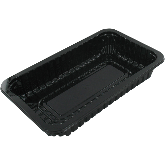 Catering serving tray , meat tray, PET, 73/38 PET, rectangular, 230x135mm, black 1